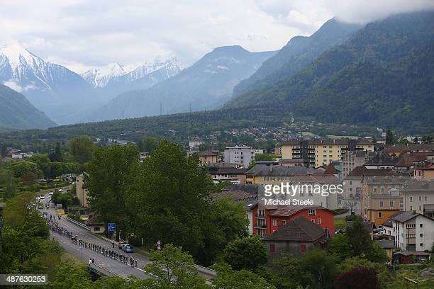 The peloton heads past the town of St Maurice during stage two of the Tour de Romandie from Sion to Montreux on May 1 2014 in Montreux Switzerland