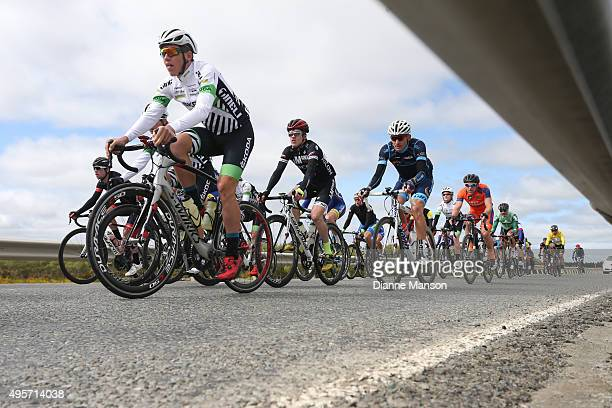 The peloton heads to Queenstown in stage four of the Tour of Southland on November 5 2015 in Invercargill New Zealand