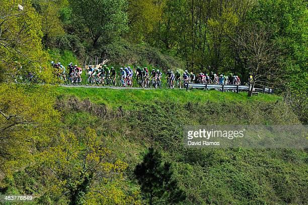 The Peloton heads up Alto de Aiastia during Stage Four of Vuelta al Pais Vasco from VitoriaGasteiz to Eibar on April 10 2014 in Eibar Spain