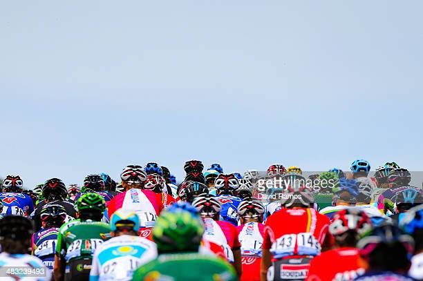 The Peloton heads up Alto de Lazkaomendi during the Stage One of Vuelta al pais Vasco 2014 on April 7 2014 in Beasain Spain