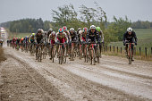 The peloton hits a muddy section of unpaved road during stage 5 of the Tour of Alberta on September 6 2015 in Edson Alberta Canada
