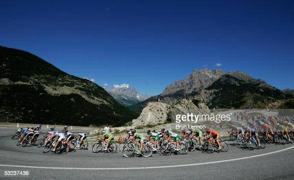 The peloton in action during Stage 12 of the 92nd Tour de France between Briancon and DigneLesBains on July 14 2005 in Briancon France