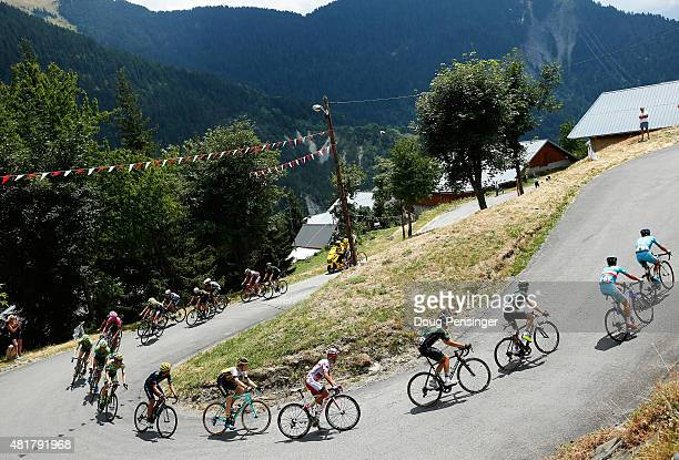 The peloton in action during Stage 19 of the 2015 Tour de France a 138km stage between SaintJeandeMaurienne and La Toussuire on July 24 2015 in La...