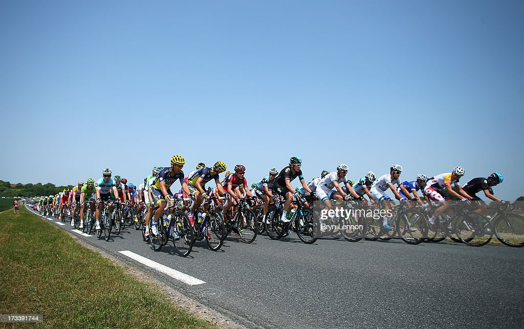 The peloton in action during stage fourteen of the 2013 Tour de France, a 191KM road stage from Saint-Pourcain-sur-Sioule to Lyon, on July 13, 2013 in Lyon, France.