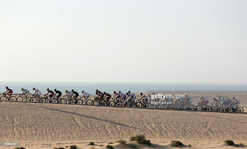 The peloton in action during stage one of the 2013 Tour of Qatar from Katara Cultural Village to Dukhan Beach on February 3, 2013 in Dukhan Beach, Qatar.
