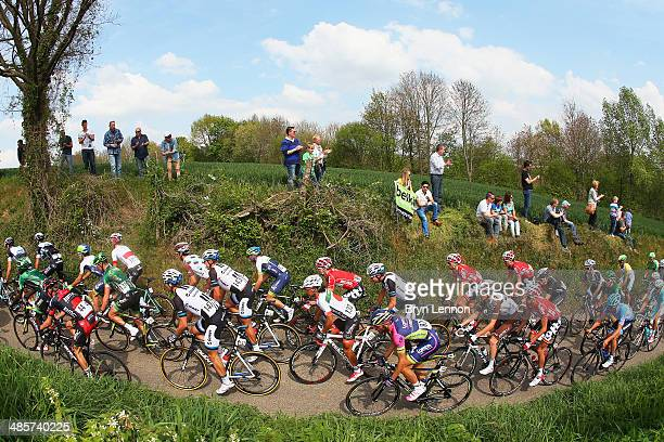 The peloton in action during the 49th edition of the Amstel Gold Race on April 20 2014 in Maastricht Netherlands The 251km route from Maastricht to...