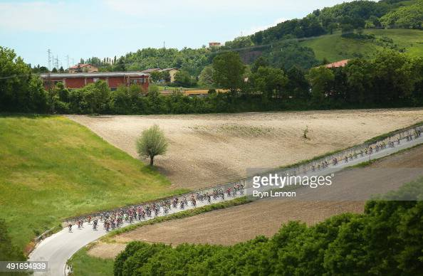 The peloton in action during the eighth stage of the 2014 Giro d'Italia a 179km medium mountain stage between Foligno and Montecopiolo on May 17 2014...