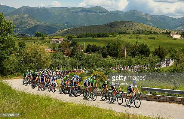 The peloton in action during the sixth stage of the 2014 Giro d'Italia a 257km medium mountain stage between Sassano and Montecassino on May 15 2014...