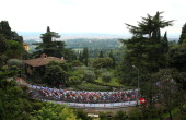 The peloton in action during the Under 23 Men's Road Race on September 27 2013 in Florence Italy