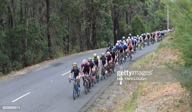 The peloton is pictured during stage four of the 2017 Herald Sun Tour cycling race in Melbourne on February 5 2017 / AFP / Mal Fairclough / IMAGE...