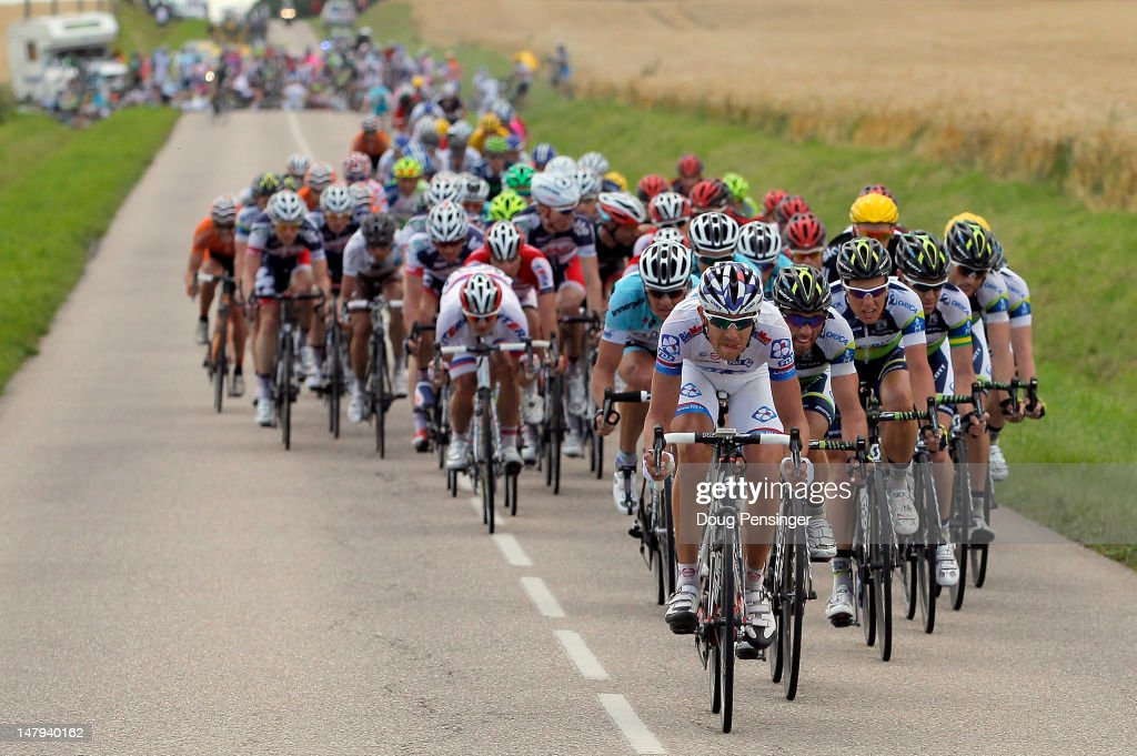 The peloton is split by a crash with 25km remaining in stage six of the 2012 Tour de France from Epernay to Metz on July 6, 2012 in Gorze, France.
