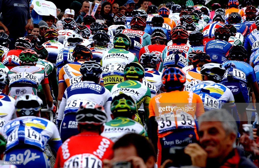 The peloton keeps together during stage 7 of the Tour de France between Chateaubriant and SaintBrieuc