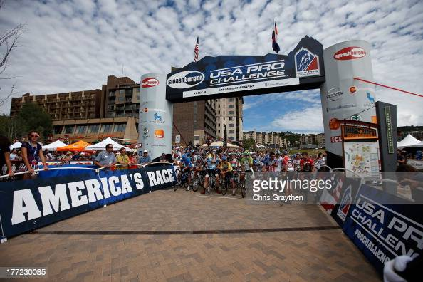 The peloton lines up at the start during stage four of the 2013 USA Pro Cycling Challenge from Steamboat Springs to Beaver Creek on August 22 2013 in...