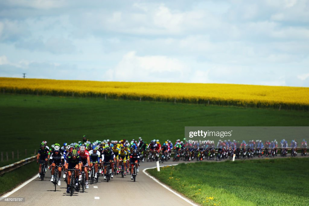 The peloton make their way through the Belgian countryside during the 100th edition of the Liege-Bastogne-Liege road race on April 27, 2014 in Liege, Belgium. The 263km race, named 'La Doyenne' is the oldest of the monuments in the cycling calendar.