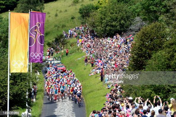 The peloton make their way up Box Hill during the Men's Road Race Road Cycling on day 1 of the London 2012 Olympic Games on July 28 2012 in London...