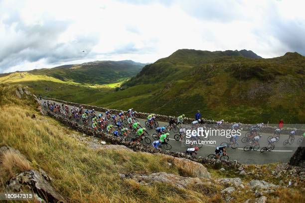 The peloton make their way up PenyPass during stage four of the Tour of Britain from Stoke on Trent to Llanberis on September 18 2013 on PenYPass...
