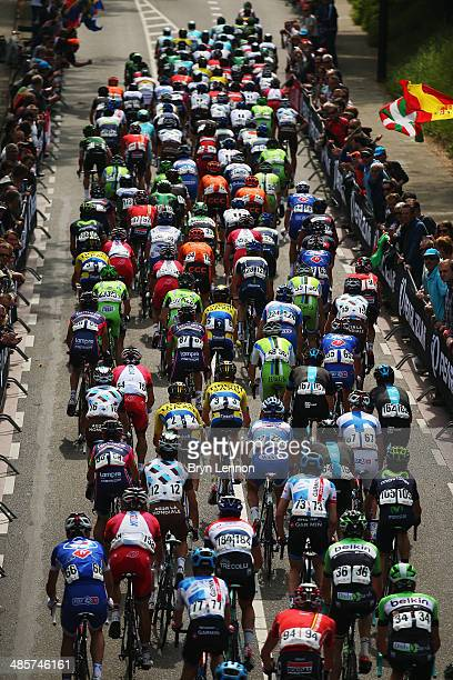 The peloton make their way up the Cauberg during the 49th edition of the Amstel Gold Race on April 20 2014 in Maastricht Netherlands The 251km route...