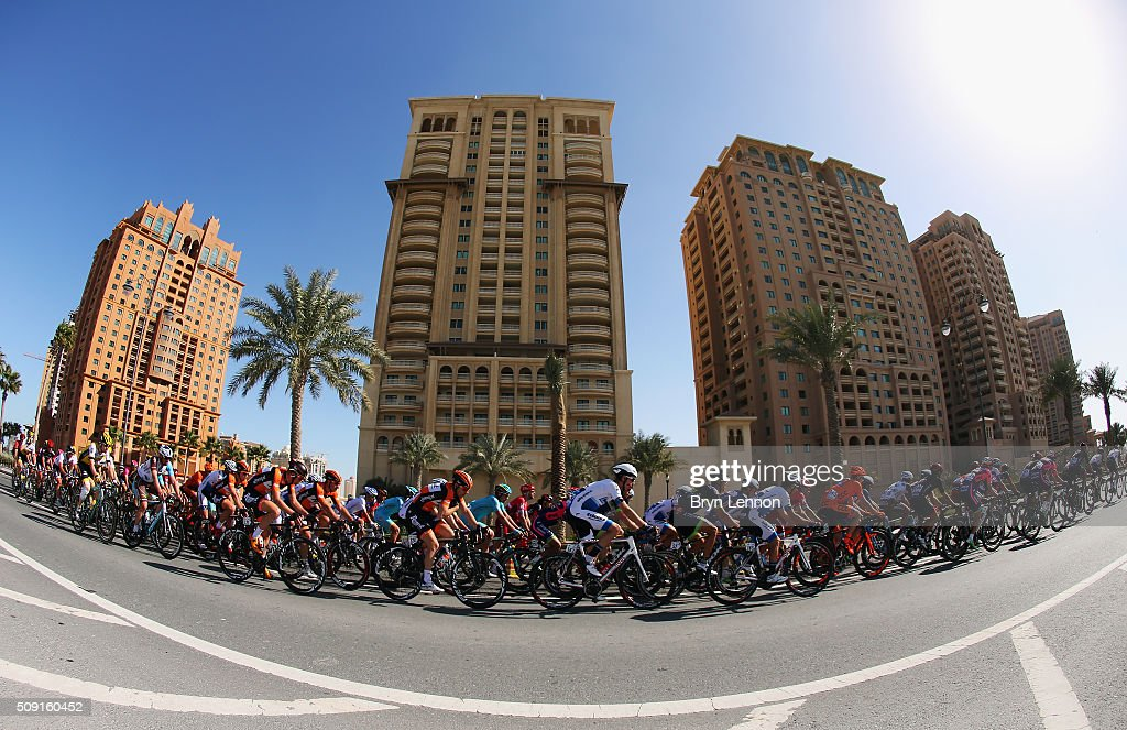 The peloton makes it way around the World Road Race Championship Circuit during stage two of the 2016 Tour of Qatar from Qatar University to Qatar Univeristy on February 9, 2016 in Doha, Qatar. The stage also serves as a test event for the World Road Race Championships which will be held in Doha in October.