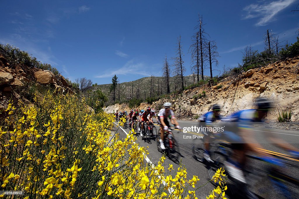 The peloton makes it way through the Angeles National Forest during stage seven of the 2014 Amgen Tour of California from Santa Clarita to Pasadena on May 17, 2014 in Pasadena, California.