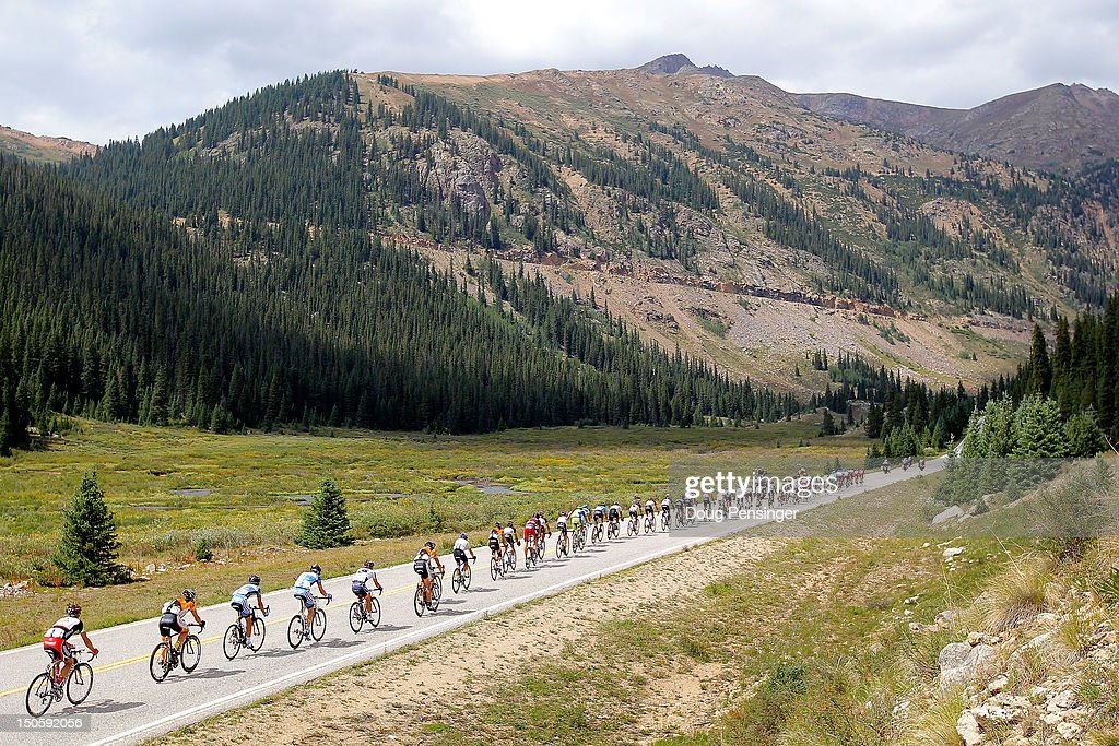 The peloton makes it way toward Indepence Pass during stage three of the USA Pro Challenge from Gunnison to Aspen on August 22, 2012 in Pitkin County, Colorado.