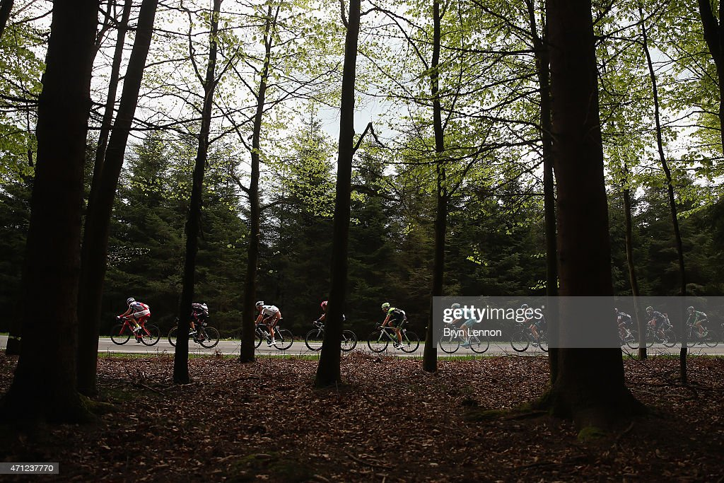 The peloton makes it's way back to Liege during the 101st LiegeBastogneLiege cycle race on April 26 2015 in Liege Belgium