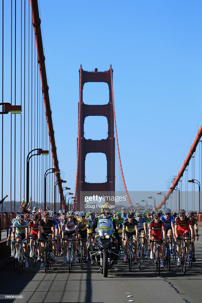 The peloton makes its way over the Golden Gate bridge as they leave the start of Stage Eight of the 2013 Amgen Tour of California from San Francisco to Santa Rosa on May 19, 2013 in San Francisco, California. Tejay van Garderen of the USA riding for BMC Racing defended the overall race leader's jersey and won the general classification.