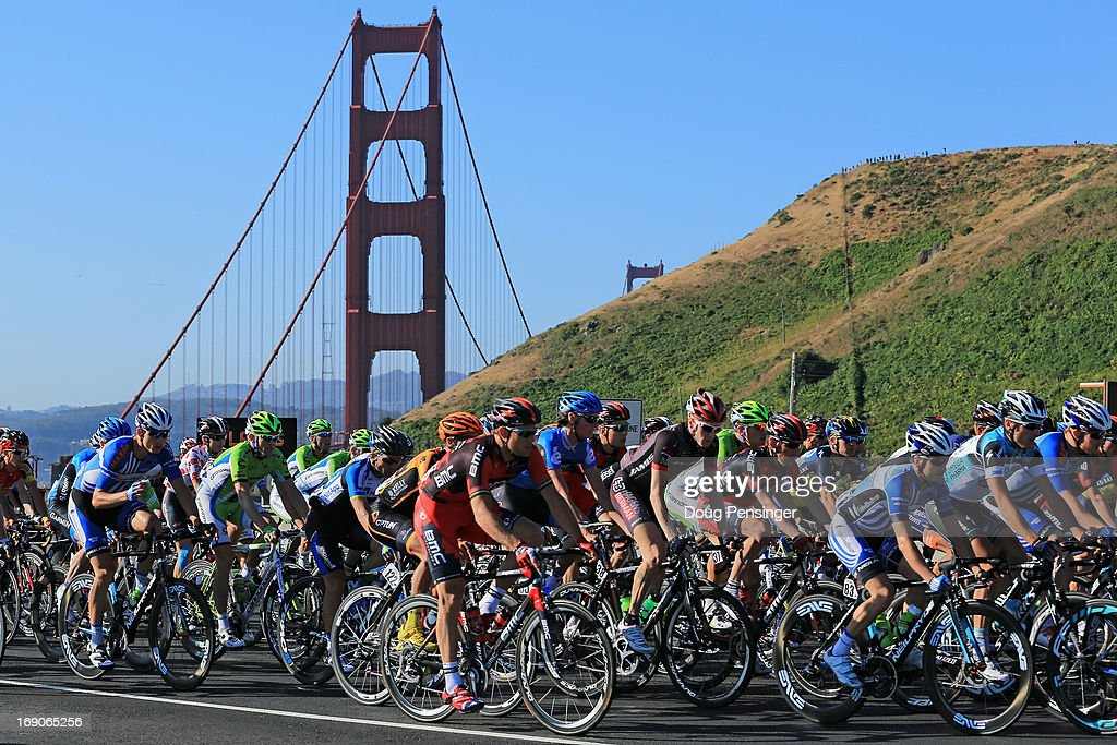 The peloton makes its way over the Golden Gate bridge as they leave the start of Stage Eight of the 2013 Amgen Tour of California from San Francisco to Santa Rosa on May 19, 2013 in Sausalito, California. Tejay van Garderen of the USA riding for BMC Racing defended the overall race leader's jersey and won the general classification.