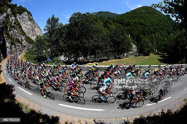 The peloton makes its way through stage eleven of the 2015 Tour de France a 188 km stage between Pau and Cauterets on July 15 2015 in Cauterets France