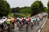 The peloton makes it's way through the French countryside during stage six of the 2010 Tour de France from Montargis to Gueugnon on July 9 2010 in...
