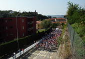 The peloton makes its way through the streets of Mendrisio on the Men's Road Race at the 2009 UCI Road World Championships on September 27 2009 in...