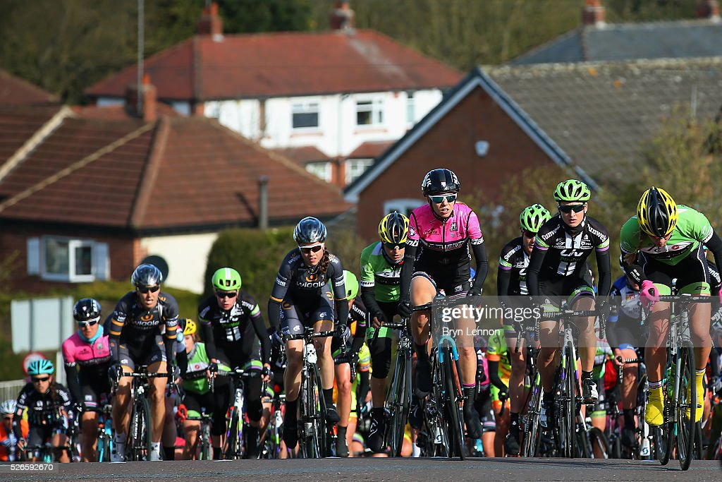 The peloton makes it's way through the Yorkshire countyside during the inaugural Women's Tour de Yorkshire between Otley and Doncaster on April 30, 2016 in Doncaster, England.
