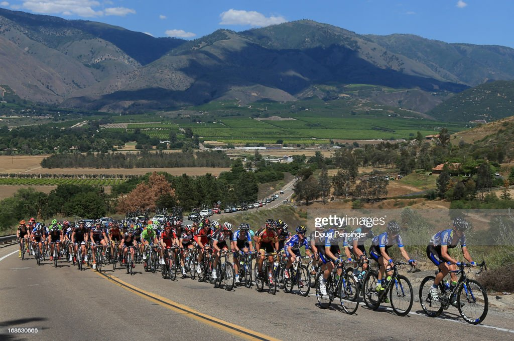 The peloton makes the climb of Cole Grade Road during Stage One of the 2013 Amgen Tour of California from Escondido to Escondido on May 12, 2013 in Valley Center, California.