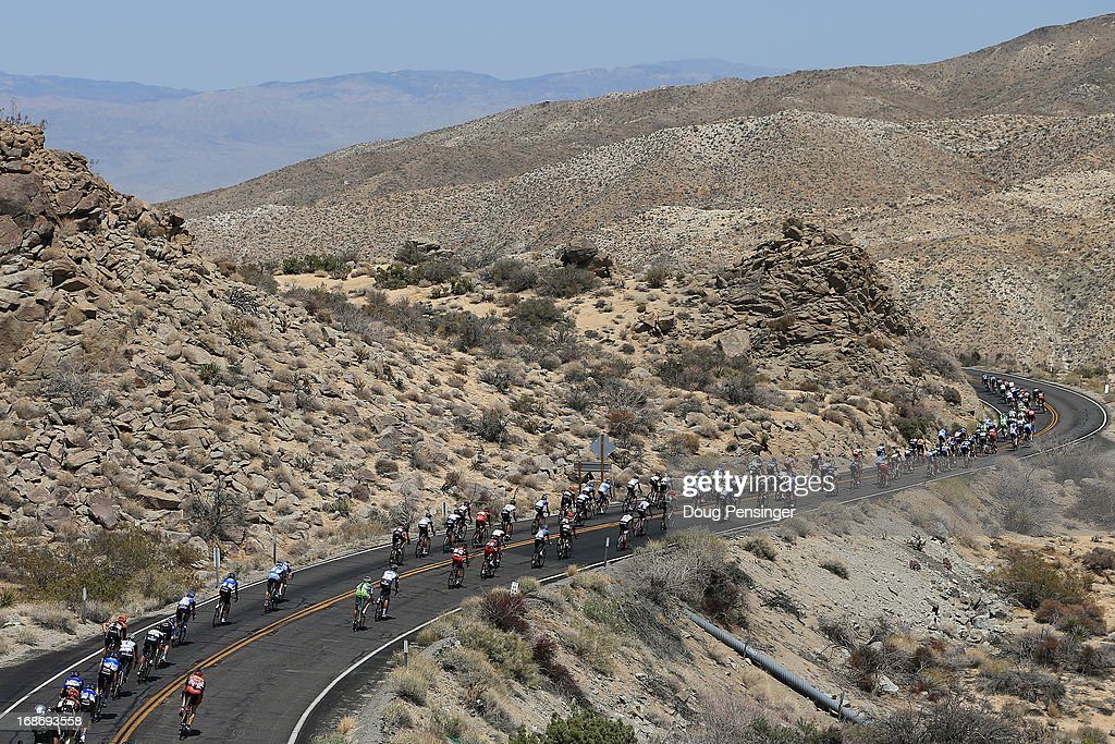 The peloton makes the descent from Mountain Center toward Palm Desert during Stage Two of the 2013 Amgen Tour of California from Murrieta to Palm Springs on May 13, 2013 in Mountain Center, California.