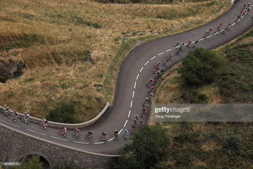 The peloton makes the descent of the Col de la Croix de Bauzon during stage 15 of the 2015 Tour de France from Mende to Valence on July 19, 2015 in La Souche, France.
