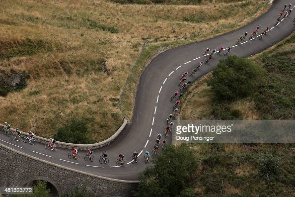 The peloton makes the descent of the Col de la Croix de Bauzon during stage 15 of the 2015 Tour de France from Mende to Valence on July 19 2015 in La...