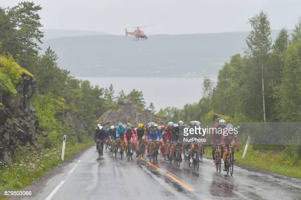 The peloton of riders led by riders from Team KatushaAlpecin during the opening stage the 1565km from Engenes to Narvik during the Arctic Race of...