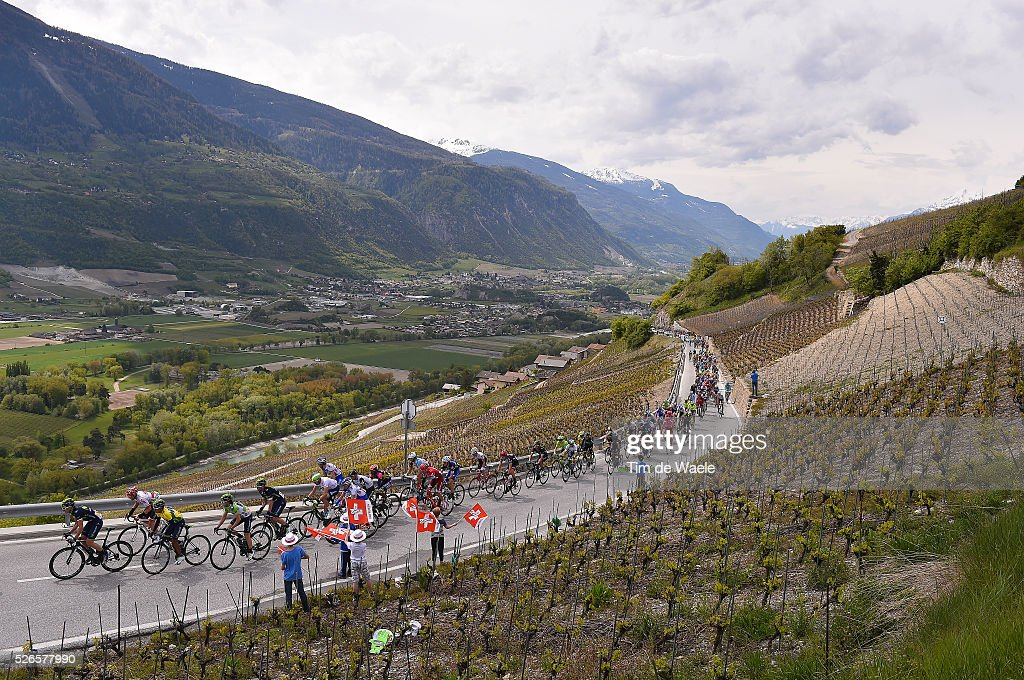 The peloton on the Corin climb in between local vignyards during stage 4 of the Tour de Romandie on April 30, 2016 in Villars-sur-Ollon, Switzerland.