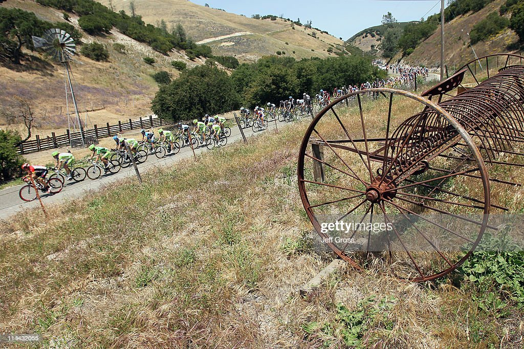 The peloton passes a farm during stage five of the 2011 AMGEN Tour of California from Seaside to Paso Robles on May 19, 2011 in Lockwood, California.