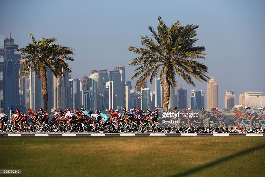 The peloton passes along the Doha Corniche on stage five of the 2016 Tour of Qatar, a 114.5km road stage from Sealine Beach Resort to Doha Corniche, on February 12, 2016 in Doha, Qatar