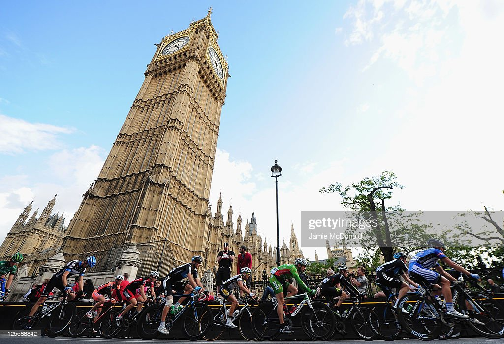The Peloton passes Big Ben during Stage Eight of the Tour of Britain at Whitehall, London on September 18, 2011 in London, England.