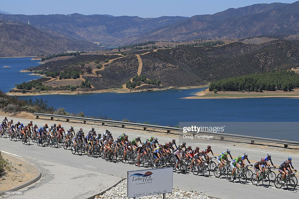 The peloton passes Castais Lake during Stage Three of the 2013 Amgen Tour of California from Palmdale to Santa Clarita on May 14, 2013 in Castaic, California.