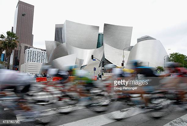 The peloton passes the Walt Disney Concert Hall during stage eight of the 2015 Amgen Tour of California from Los Angeles to Pasadena on May 17 2015...