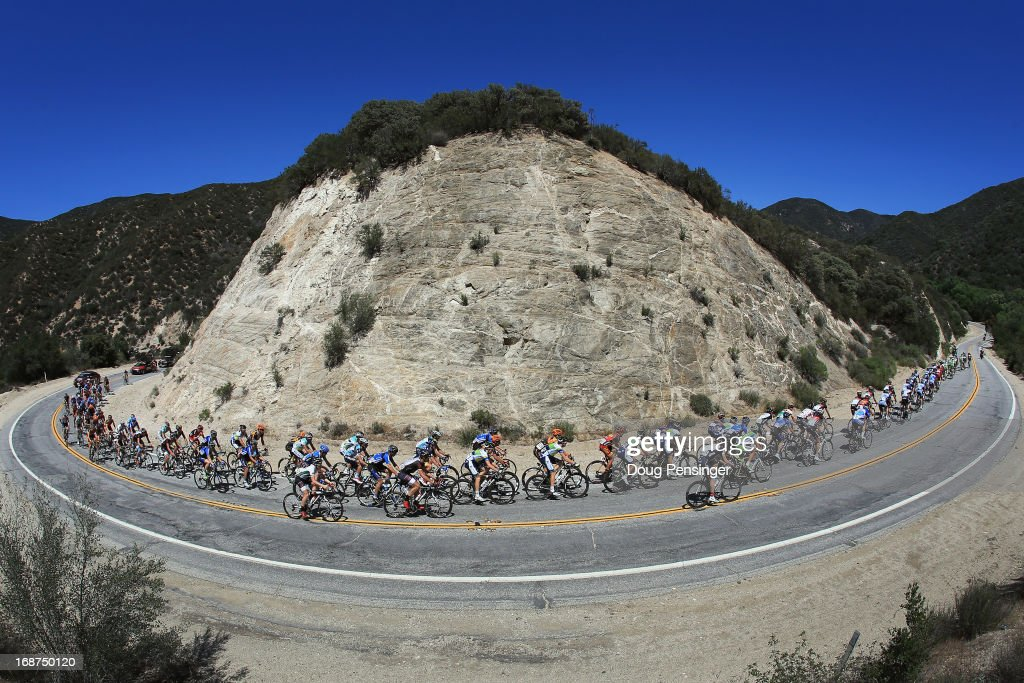 The peloton passes through Bouquet Canyon during Stage Three of the 2013 Amgen Tour of California from Palmdale to Santa Clarita on May 14, 2013 in Santa Clarita, California.