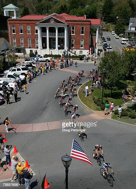 The peloton passes through Ellijay Georgia during Stage Five of the Tour de Georgia on April 20 2007 from Dalton to Brasstown Bald Mountain Georgia