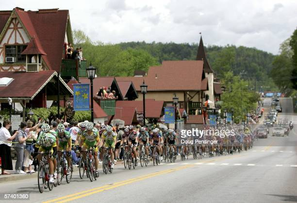 The peloton passes through Helen during Stage Five of the 2006 Tour de Georgia on April 22 2006 from Blairsville to Brasstown Bald/Towns County...
