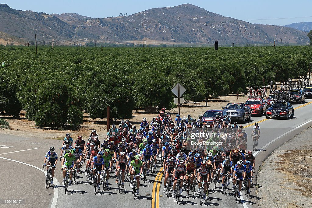 The peloton passes through orchards during Stage One of the 2013 Amgen Tour of California from Escondido to Escondido on May 12, 2013 in Escondido, California.