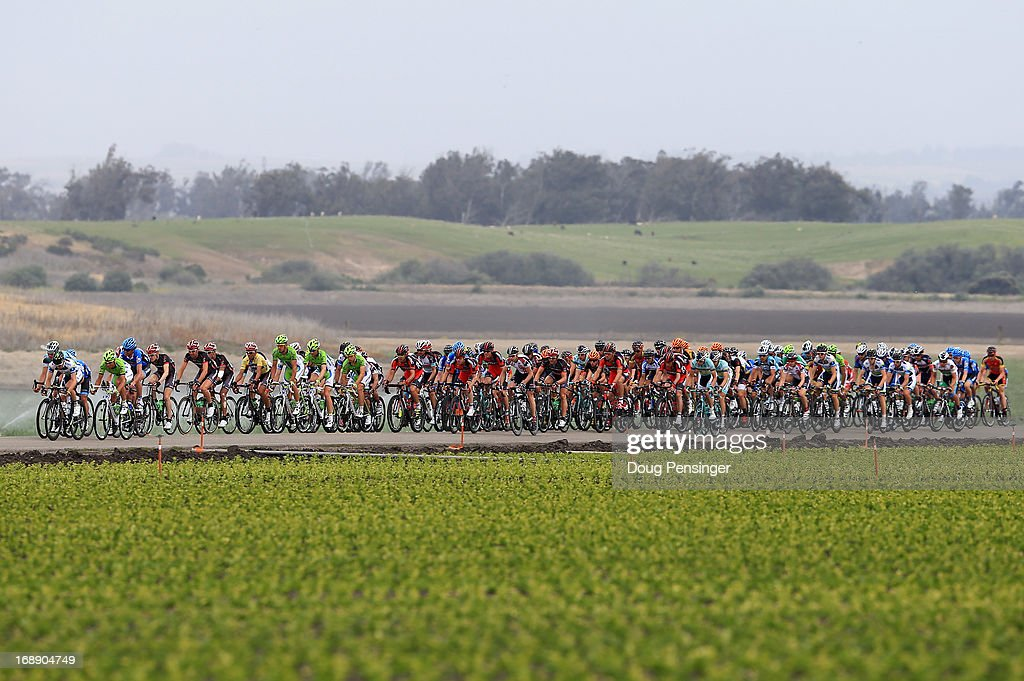 The peloton passes through the agricultural fields during Stage Five of the 2013 Amgen Tour of California from Santa Barbara to Avila Beach on May 16, 2013 in Guadalupe, California.