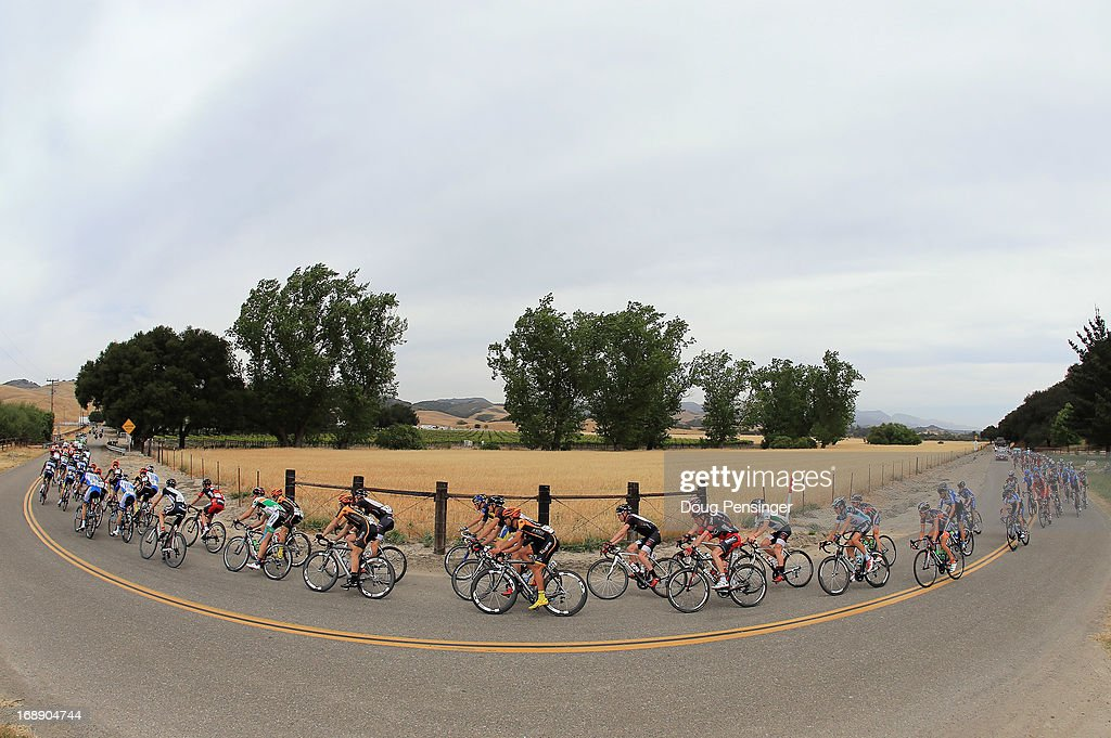 The peloton passes through the countryside during Stage Five of the 2013 Amgen Tour of California from Santa Barbara to Avila Beach on May 16, 2013 in Orcutt, California.