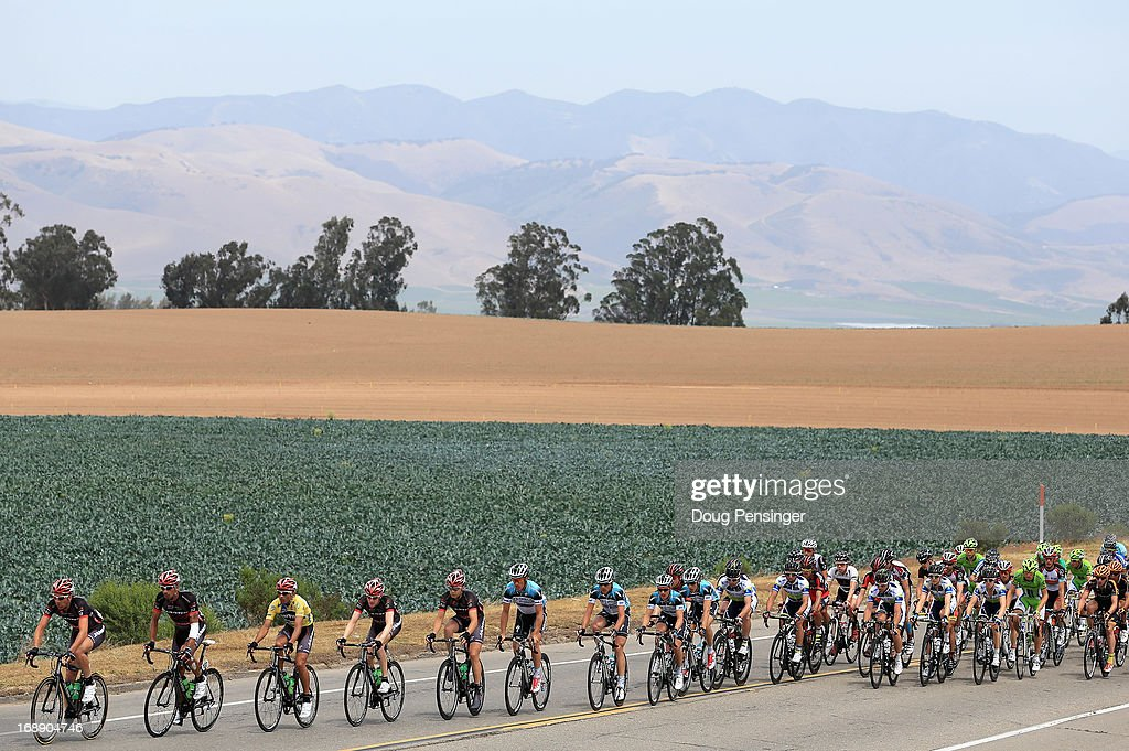 The peloton passes through the countryside during Stage Five of the 2013 Amgen Tour of California from Santa Barbara to Avila Beach on May 16, 2013 in Guadalupe, California.