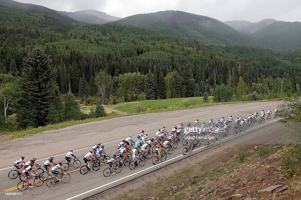 The peloton passes through the San Juan mountains during stage one of the USA Pro Challenge from Durango to Telluride on August 20, 2012 in Dolores County, Colorado.